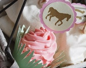 Vintage Pony Cupcake Toppers In Your Choice of Color Qty 12