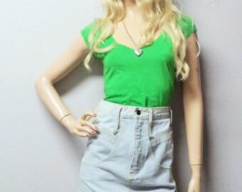 BONGO High Waisted Denim Mini Skirt Light wash Vintage 80s -- Waist 26 inches-----