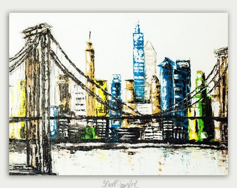 Colorful New York City Art, Modern Painting, Oil On Canvas, Abstract Painting, Fine Art,  Home decor, City Skyline