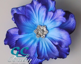 Purple Blue Anenome Flower Hair Accessory - Silk Bloom with Silver Rhinestone - Bride, Girl, Baby Photo Prop