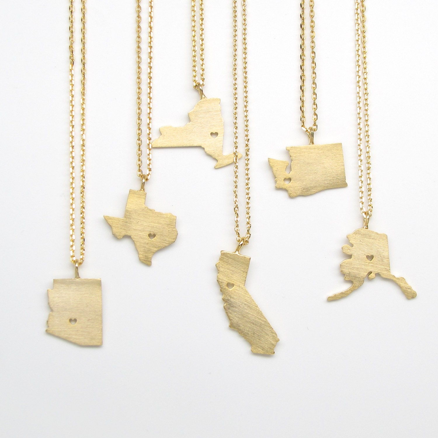 gold state charm necklace state charm by tangerinejewelryshop