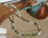 Moss Aquamarine & Moonstone Necklace with Handmade Sterling Silver Clasp