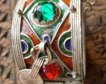 Moroccan jewel enamel bracelet cuff