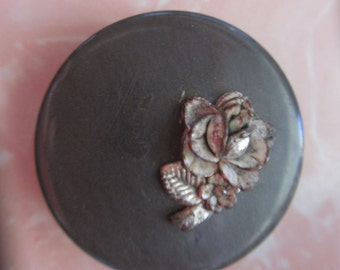 Vintage Silver Flower on Black Magnet