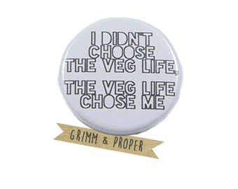 Funny Vegetarian Pin, Gift for Vegetarian, Gift for Vegan, Present Topper, Funny Birthday Gift, Christmas Gift, Stocking Stuffer