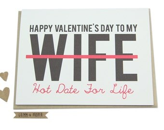 Funny Valentine's Day Card, Wife, Spouse, Partner, Hot Date, For Her, Loving, Valentine, Hot Date for Life, Love, Happy Valentine's Day