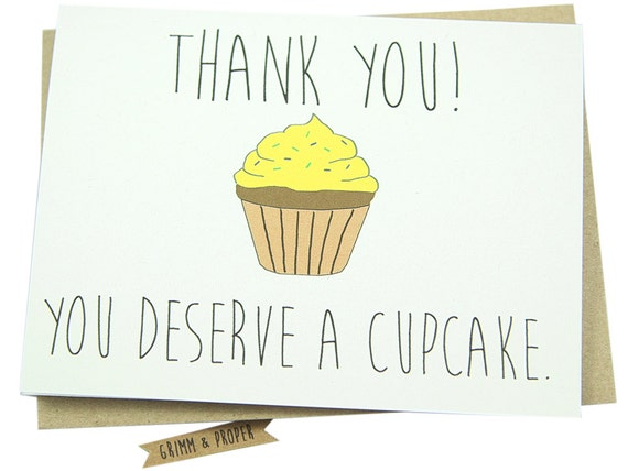 Thank You For Baking: Items Similar To Funny Thank You Card, Cupcake, Baking