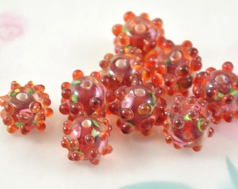 5beads 6Beads 10Beads Hole 2mm Charm Drum Orange Dot Red Flower  Lampwork gemstone beads 12mmx13mm Glass Gemstone Beads