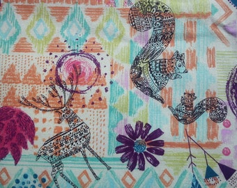 Folklore animals, in orange and green, fat quarter, pure cotton fabric