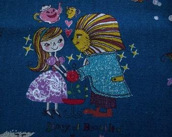 All fairy tales, dark blue, fat quarter, cotton linen blended fabric