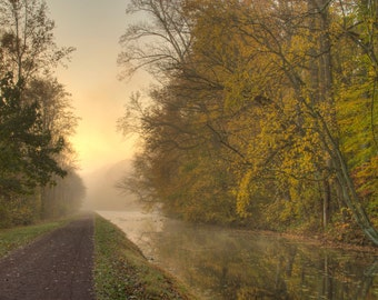 Autumn Morning, Landscape Photograph, Morning Light, Sunrise, Fall Foliage, Zen, Bucks County, Pennsylvania, Delaware Canal, Towpath, Print