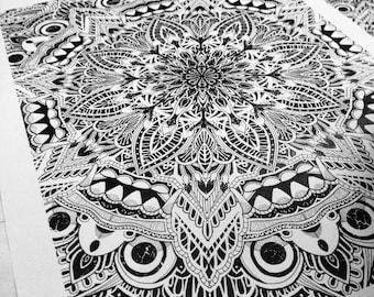 Balinese Mask Mandala -Signed A3 print