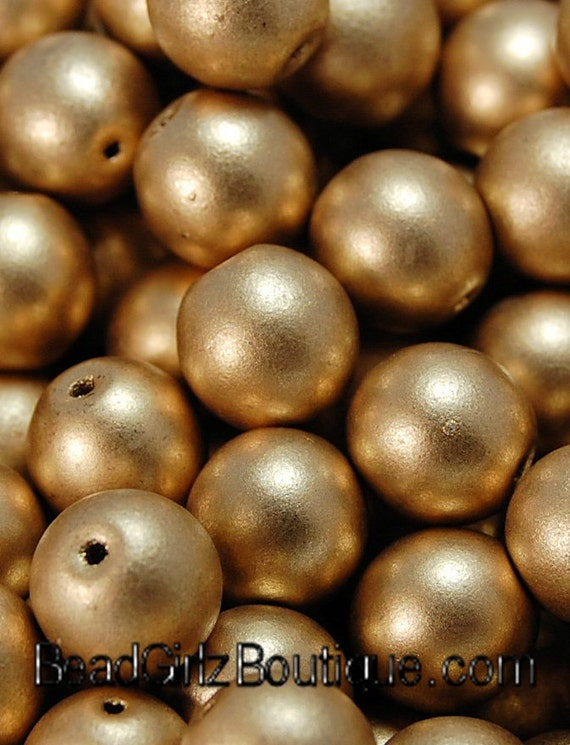 8mm Czech Glass Satin Gold Druk Beads-25 Czech Beads