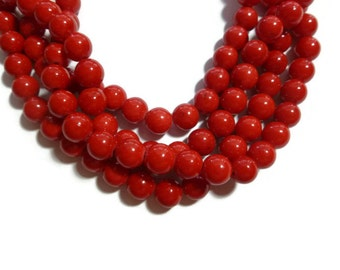Cherry Red Mountain Jade - 8mm Round Bead - Full Strand - 52 beads - Mashan Jade - Scarlet Crimson Bright Red