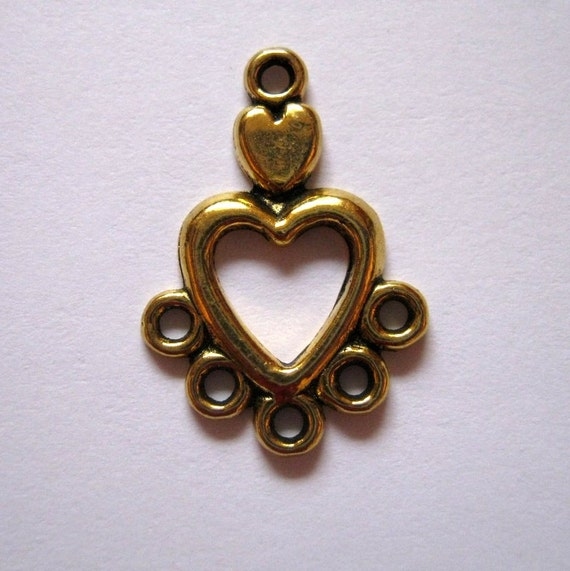 Antique gold hole heart shaped jewelry connectors