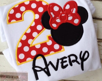 Miss Mouse Shirt -- birthday shirt or bodysuit with number, Miss Mouse ears, and personalized with name in red, black and yellow