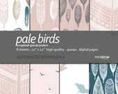 "Modern Digital Paper + Pale Birds 083  + Scrapbook Quality Paper Pack  (12 x 12""- 300 dpi) 8 sheet pack paper + Rustic"
