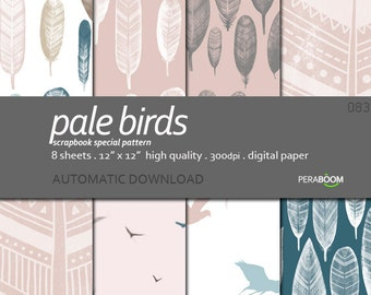 Birds Digital Paper, Neutral paper, Bohemian Paper, Bohemian Patterns, Feathers, Ethnic Design, Boho Style, Beige taupe blue, Commercial use