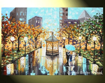 "GICLEE PRINT Art Abstract Painting Couple Umbrella City Park Romantic Blu Gold Canvas Prints Home Decor Wall Decor Sizes to 60"" - Christine"