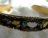 Vintage bracelet black and gold tone with yellow