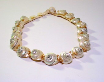 Miriam Haskell Shell Necklace on Silk Cord Frank Hess Design Iridescent Cream