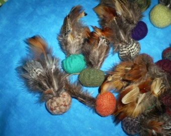 12  Recycled, felted wool and  feathers, cat toys with organic catnip.