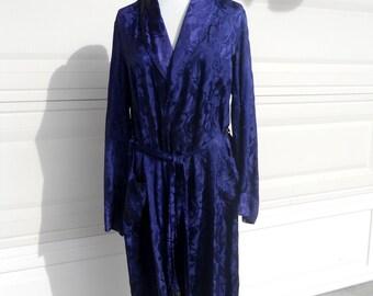 Kimono Robe Navy Blue Brocade Fringe . Tailored by Glover