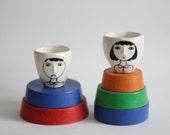 Valentines - Hand-built - Mini - Wonky shot glasses / 3d nose / wonky ceramic / single espresso