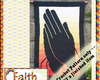 PDF Crochet Pattern Faith Tapestry Wall Hanging