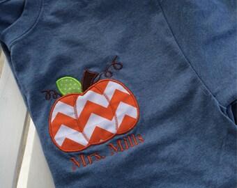 Personalized/ monogrammed School/teacher fall pumpkin tshirt