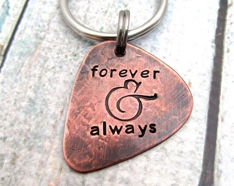 Personalized Guitar Pick KeyChain - Personalized Hand Stamped Guitar Pick - Mens Gift - 2 sided pick Key Chain Copper - Custom gift for Him