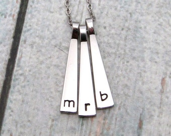 Personalized Bar Necklace - Skinny Tag Necklace - Personalized Necklace - Hand Stamped Necklace - Stainless Steel - Personalized Initial