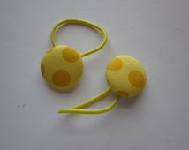 SALE!  Yellow Polka Dots, Fabric Covered Button PonyTail Holders, Ready to Ship