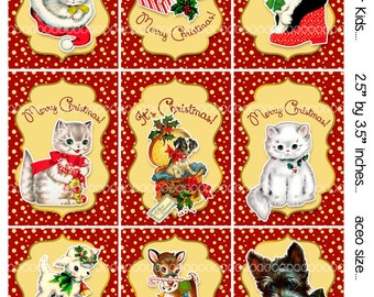 Digital Clipart, instant download, Vintage Christmas Cards or tags for Kids--Puppies, Kittens, Gifts--8.5 by 11--Digital Collage Sheet 1929