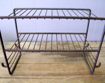 Rusty Old Industrial Metal Wire Storage Display Rack