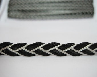 5 Yards 6 mm Black Shiny Flat Braided Cord, Braided Cord, Flat Braided Cord, wholesale cord, plaited cord, black cord, black braided cord