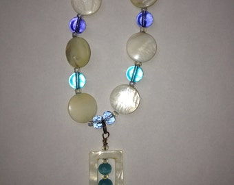 Shades of Blue Square Pendant: Handmade Beaded Necklace-- Sale Price
