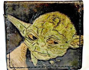 Star Wars Movie - Star Wars Gift - Star Wars Wallet - Yoda - Dad Gift - Geek Boyfriend - Geek Gift - leather. Holds 8 cards, has 1 bill slot