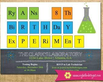 Printable Science Invitation - experiment Invite DIY boy girl beaker atom periodic table test tube chemistry card printable birthday
