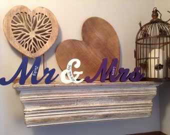 Personalised Wedding Letters - Mr & Mrs - New Script - 10cm - Free-standing - Hand-painted