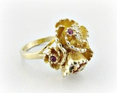 Vintage Designer PARK LANE Ring, Rhinestone Cocktail Ring, Red Clear Crystal Ring, Gold Flower Statement Ring, 1960s Vintage Costume Jewelry