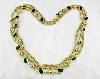 Vintage Gold Multi-Strand Necklace, Green Glass Bead Necklace, Gold Bead Necklace, Gold Layered Chain Necklace, 1960s Retro Costume Jewelry