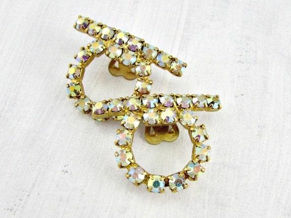 Vintage Rhinestone Shoe Clips, Crystal Gold Shoe Clips, Formal Prom Bridal Wedding Shoe Clips, 1950s Fashions Accessory, Shoe Embellishments