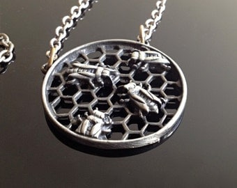 Beehive Honeycomb Pewter Pendent Necklace