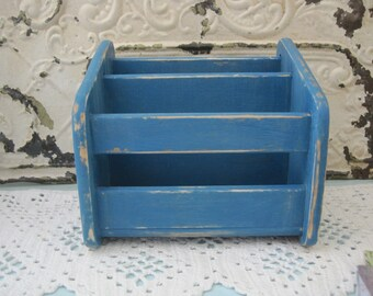 Rustic Desk Top Organizer - Shabby Chic Card File Upped in Distressed inTurquoise OR Pick Your Color