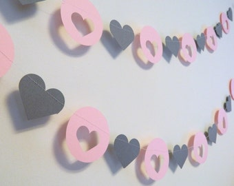 Pink and Gray Heart Garland -paper garland- Wedding Heart Garlands- Bridal Shower Decor- Baby Shower Decorations- Your Color choice