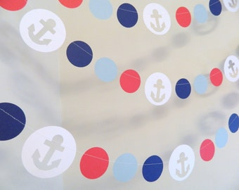 Nautical Themed Decorations- 10ft Anchor Paper Garland- Ahoy Its a Boy Baby Shower Decor - Nautical Birthday Party- Custom Colors