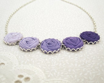 Purple Bridesmaid Necklace - Heather, Lilac & Orchid Fabric Rose Necklace