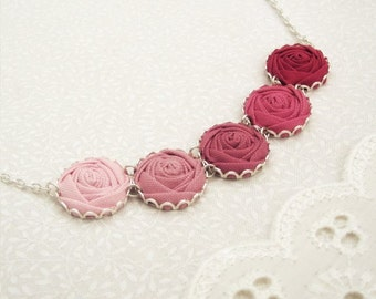 Pretty in Pink Rose Necklace in Peony, Pastel & Passion - Perfect for Prom