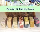 Pick Any 10 soaps for 50 dollars - soap set, gift set, sampler set